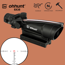 лучшая цена ohhunt 5X35 Hunting Real Fiber Optics Scope BDC Chevron Horseshoe Glass Reticle Tactical Optical Sights for Rifle cal .223 .308