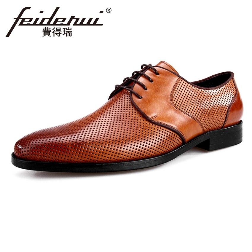 Летние Дизайнерские мужские туфли оксфорды из натуральной кожи в стиле дерби; парадная обувь; Мужские дышащие туфли на плоской подошве с круглым носком на шнуровке; BQL47