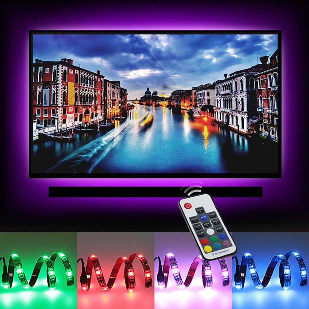 0.5 M 2 M USB ماجيك شرائط مصباح DC5V مرنة LED RGB شريط ضوء الشريط SMD5050 HDTV شاشة خلفية فلاش مصباح RF تحكم