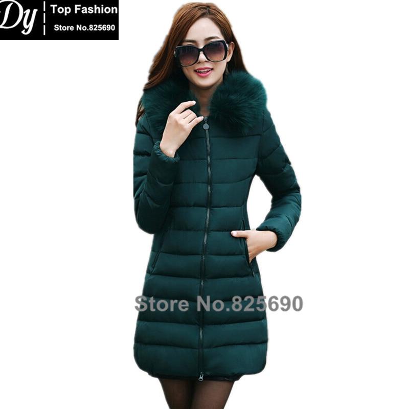 ФОТО New Wadded Winter Jacket Women Cotton Jacket Fashion 2017 Girls Padded Slim Plus Size Hooded Parkas Female Coat With Fake Fur