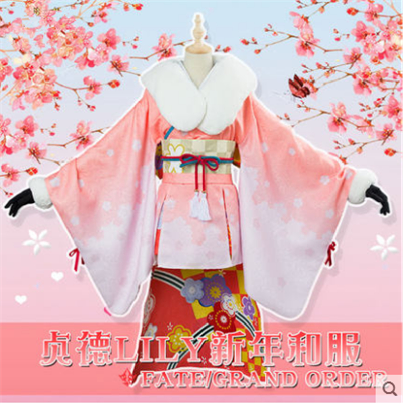 Alter Lily Fgo cosplay Fate Grand/Order Alter Santa Lily New Year cosplay costume kimono female Full Set 2
