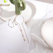 Flyleaf 925 Sterling Silver Earrings For Women Gold Tassel Asymmetry Circle Zircon Drop Simple Long Earings Fashion Jewelry