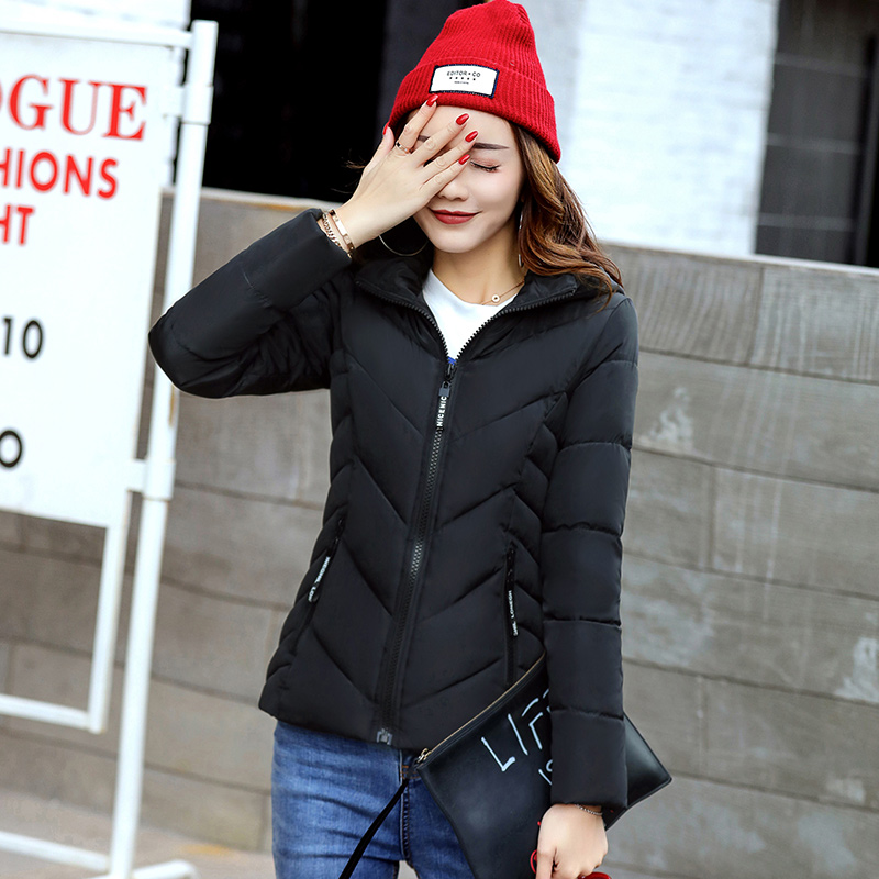 New 2017 women winter jacket hooded parka womens coat fashion cotton-padded candy color slim fit bomber jackets warm short coats women winter bomber jackets short warm cotton padded coat silver metal color ladies parka zipper hooded down jacket outwear 2016