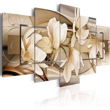 5 Pieces HD Canvas Painting Exquisite background beautiful magnolia flowers Paintings Modern Wall Pictures Framed PJMT- (5)