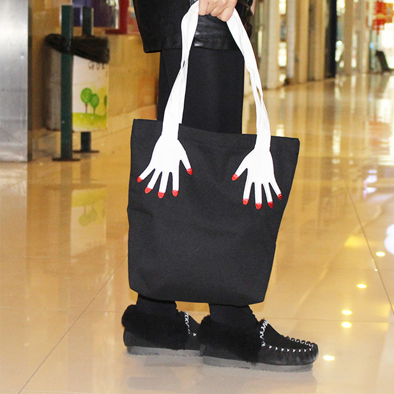 3D Hands Handbag Harajuku Embroidery Fingers Canvas Tote Bags Shopping Shoulder Bag