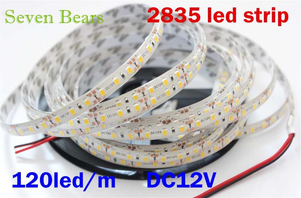 IP65 Waterproof  Flexible LED Strip Light 5M Roll 2835 SMD 120 LEDs/M 600 LEDs Dc12v White Warm White  More Brighter Than 3528