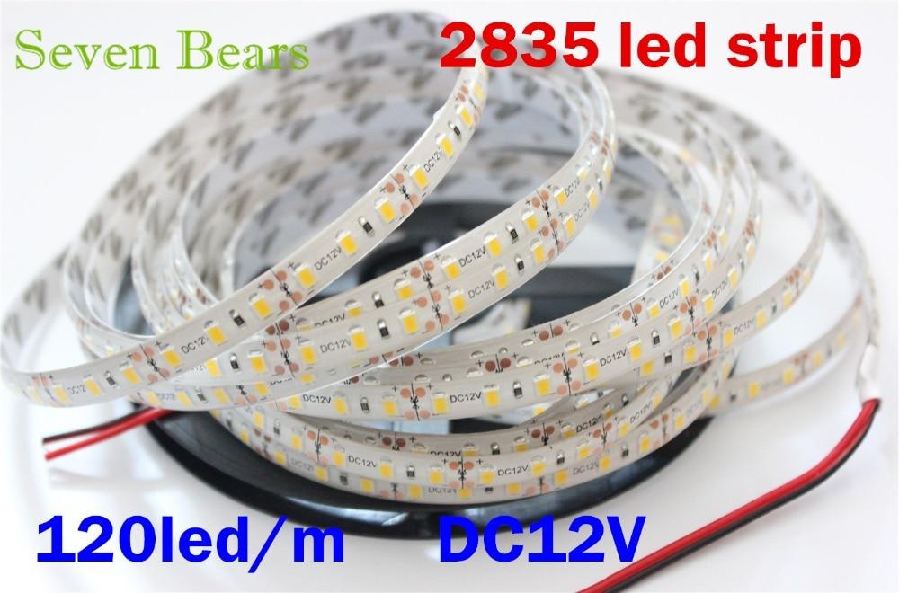 IP65 Waterproof  Flexible LED Strip Light 5M Roll 2835 SMD 120 LEDs/M 600 LEDs Dc12v White Warm White  More Brighter Than 3528