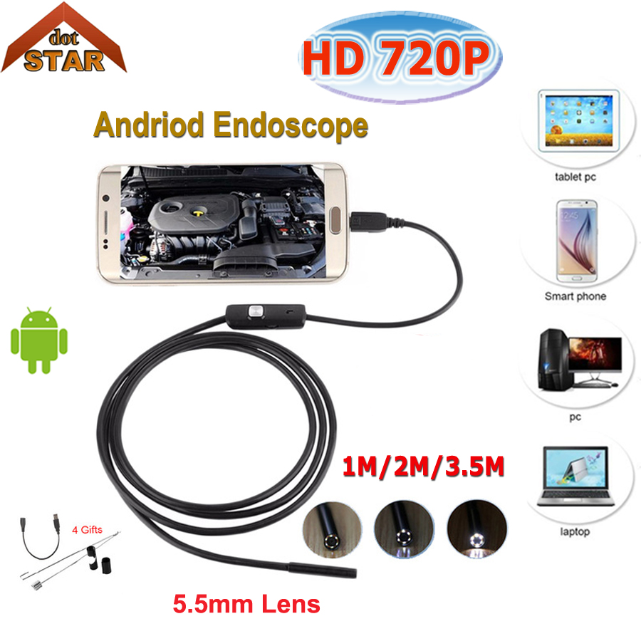 Android Endoscope Camera 5.5mm 1M 2M 3.5M USB Endoscopio hd android Inspection Tube Snake Camera IP67 OTG Borescope Endoscoop