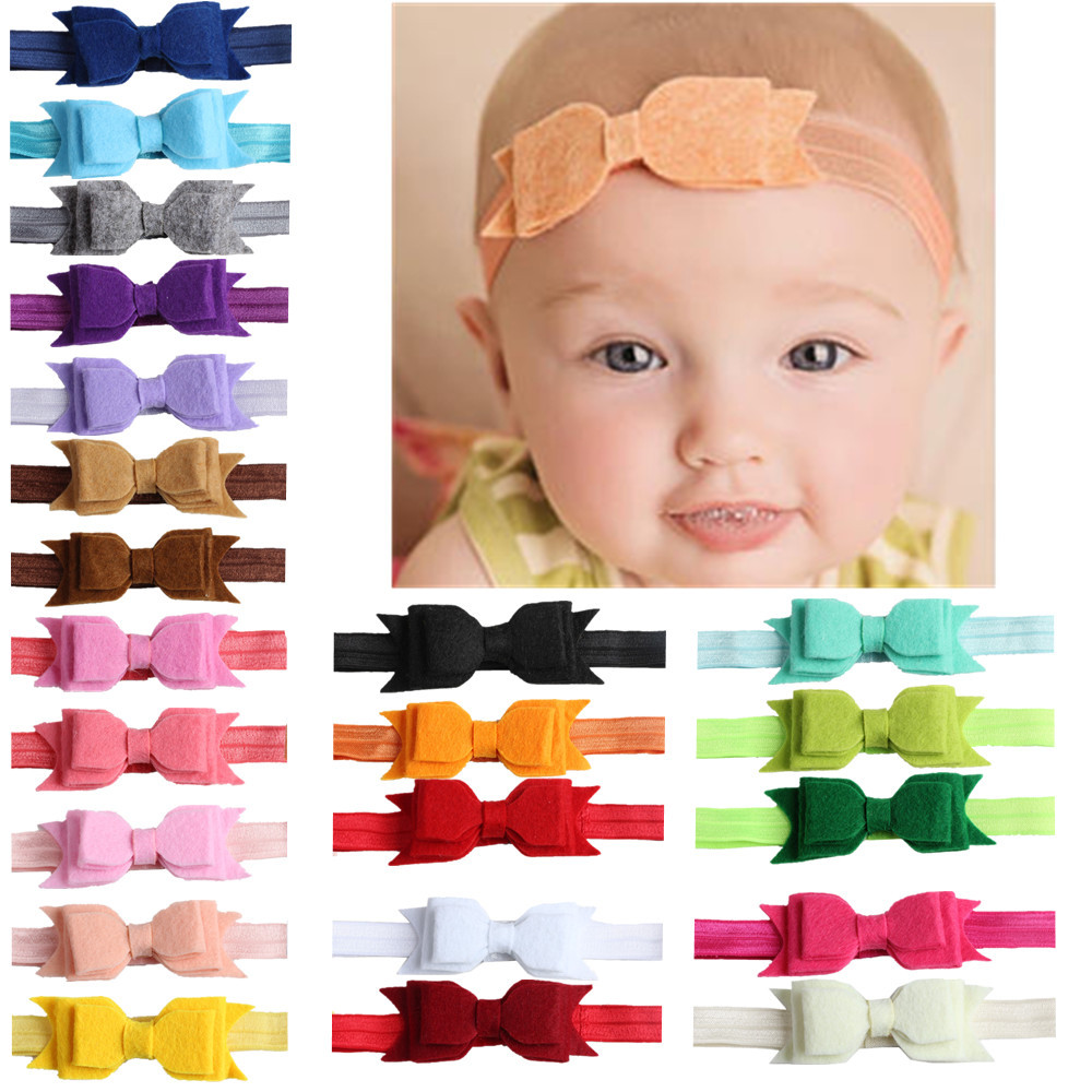 1pcs Newborn Felt Bows Headband Solid Color Cotton Children Girls elastic hair bands girl turban Headbands bandeau bebe 2016 baby girls tie knot headband knitted cotton children girls elastic hair bands turban bows for girl headbands summer style