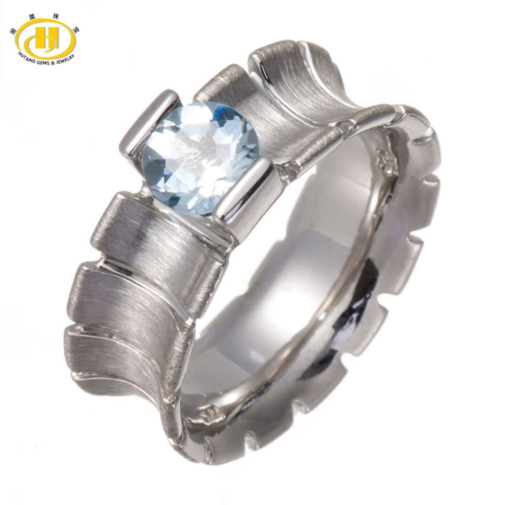 HUTANG Genuine Aquamarine 6mm Solid 925 Sterling Silver Ring Fine Unique Jewelry Free Shipping