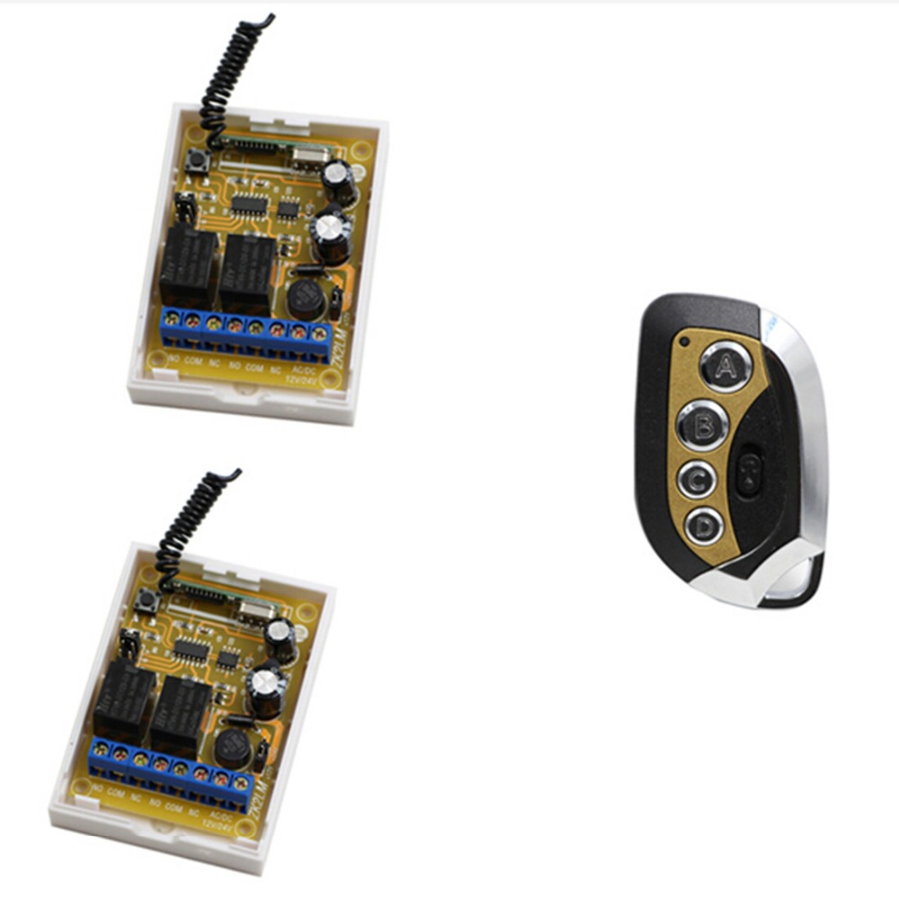 New Arrival DC 12V 24V 2CH Relay RF Wireless Remote Control Switch System 2* Receivers With Transmitter for Office & Hotel new control relay cad series cad32 cad32bndc cad 32bndc 60v dc
