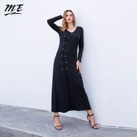 ME Winter Long Maxi Dress Casual Knitted Bandage Long Sleeve Loose Women Sweater Dress Vintage Black
