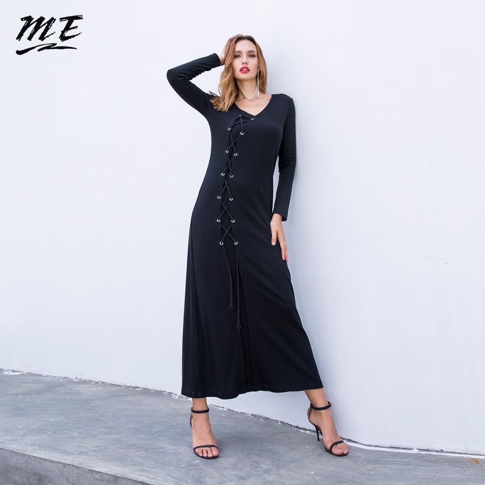 ME Winter Long Maxi Dress Casual Knitted Bandage Long Sleeve Loose Women Sweater Dress Vintage Black Party Dress Plus Size