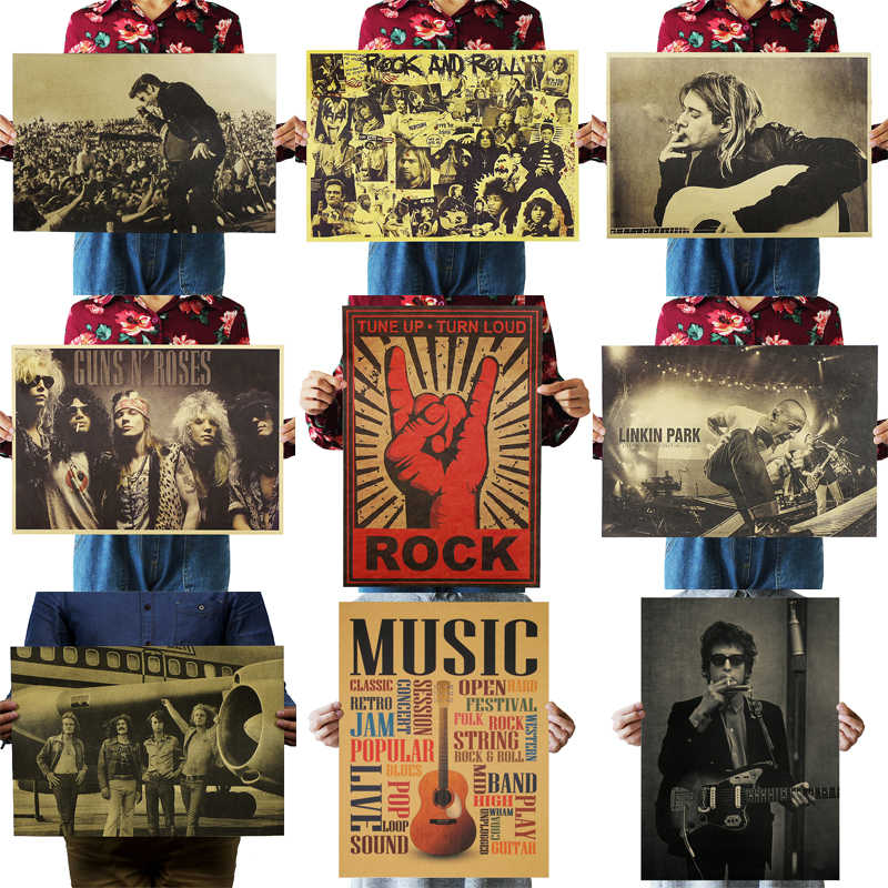 DLKKLB Nostalgic Rock Band Kraft Paper Music Cafe Bar Poster Retro Poster Decor Painting 51x36cm Rock Is Not Dead Wall Sticker