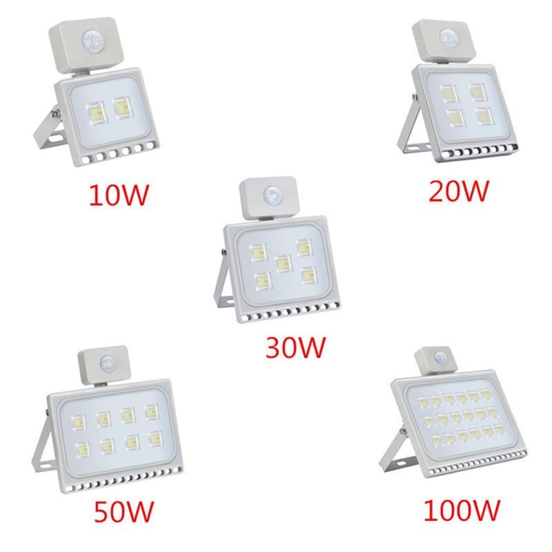 1 Pcs Ultrathin Sensor LED Flood Light 220V 10W 20W 30W 50W 100W IP65 Waterproof Spotlight Outdoor Lighting Wall Lamp Floodlight