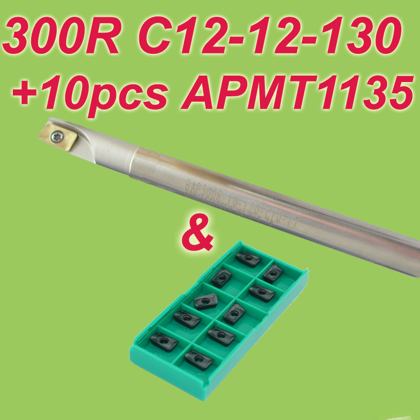 1pcs 300R C12-12-130 + 10pcs APMT1135  Discount Face Mill Shoulder Cutter For Milling Machine Free Shiping new free shiping 1pcst2139 c10 4r 100 10pcs p3200 d08 discount insertable ball precision end mill for milling machine on sale
