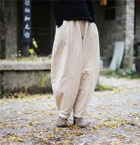 Image 2 - Женские свободные штаны YoYiKamomo, плотные теплые шаровары с хлопковой подкладкой, Однотонные эластичные брюки большого размера, 2018