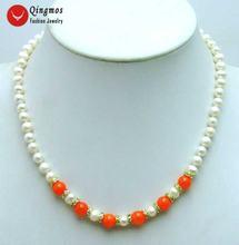 Qingmos Трендовое ожерелье с натуральным белым жемчугом для