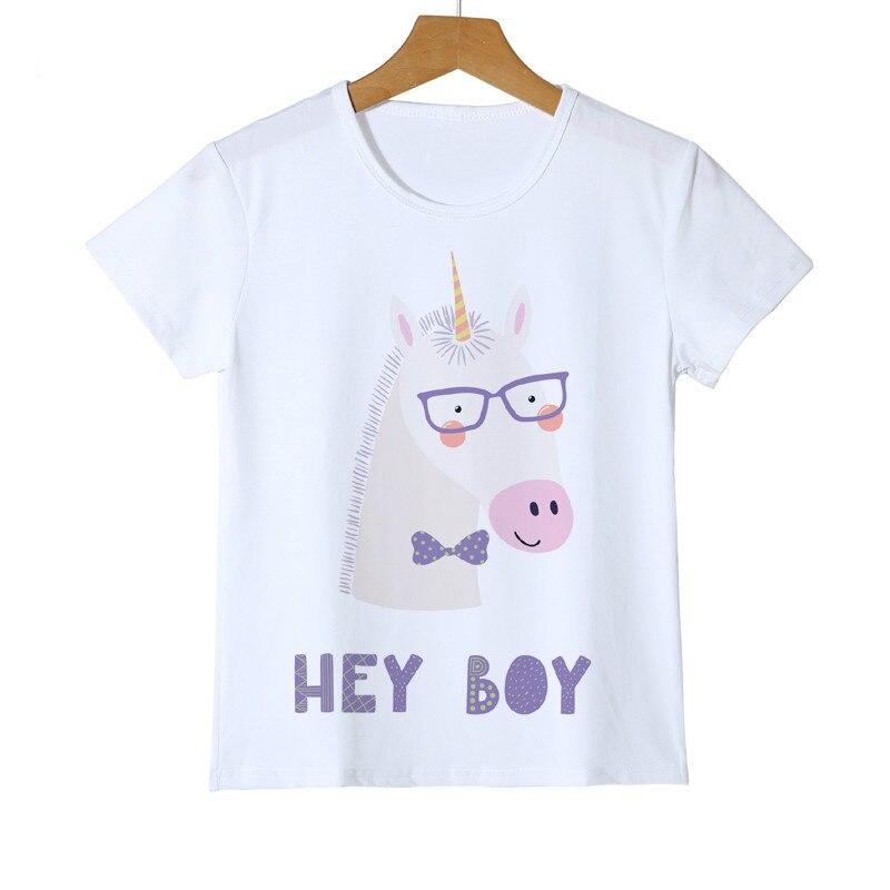 Детская футболка с принтом смешной единорог, с очками, детские футболки для маленьких мальчиков и девочек, футболка с рисунком, Детская футб...