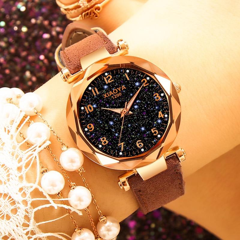 Luxury Brand XIAOYA Women Watches Personality Romantic Starry Sky Wrist Watch Rhinestone Design Ladies Watches relogio feminino in Women 39 s Watches from Watches