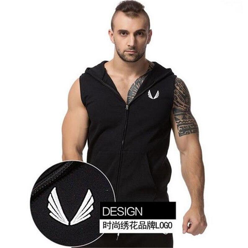 Mens Brand Hoodie Singlets Sweatshirts Mens Tank Tops Stringer Bodybuilding Fitness Men's Tank Tees Shirts Sporting Vest