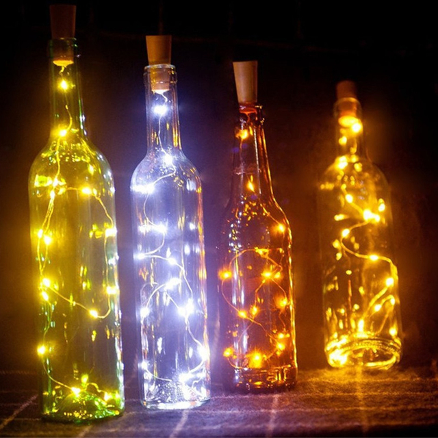 6.5ft 20 LED Wine Bottle Lights Cork Battery Powered Garland DIY Christmas String Lights For Party Halloween Wedding Decoracion