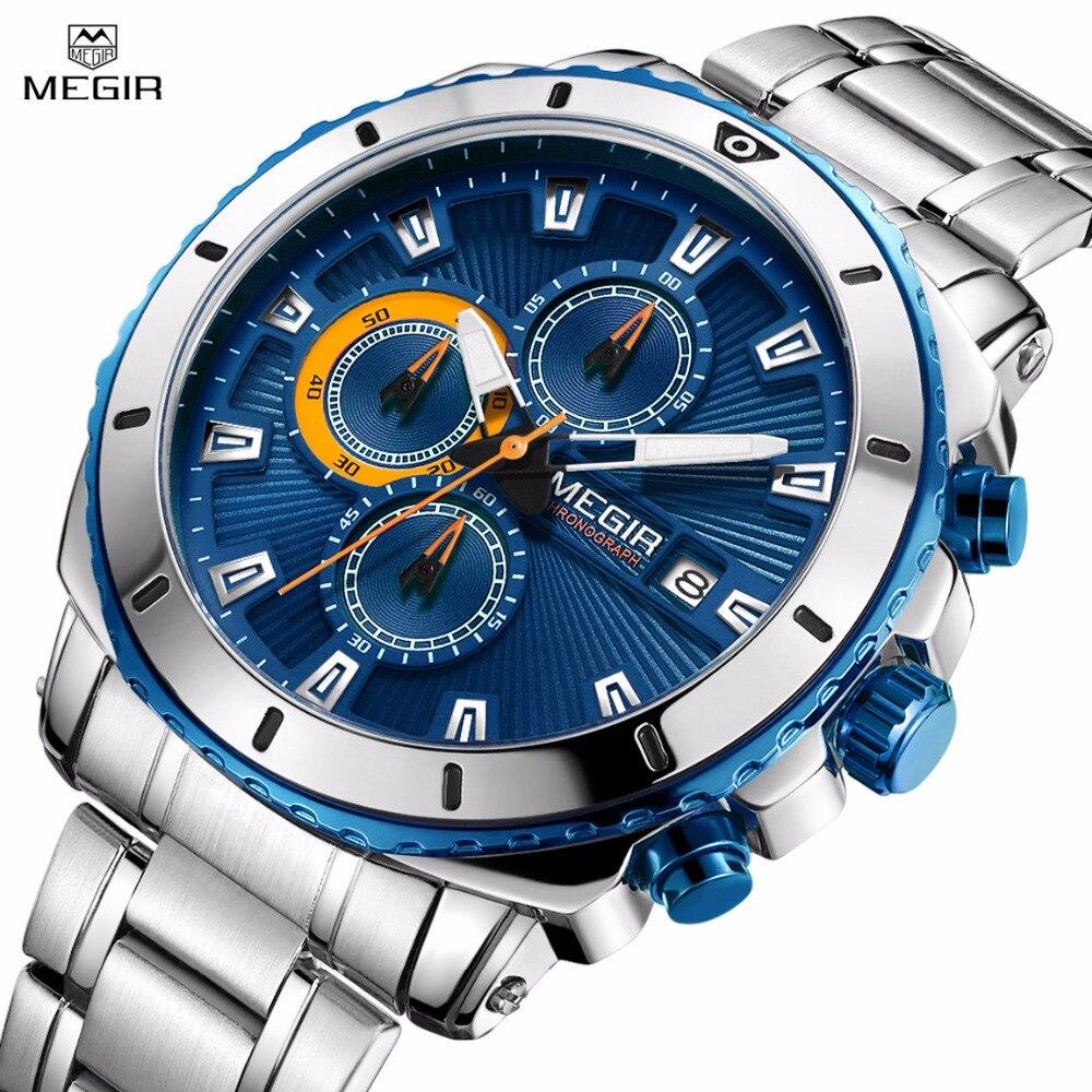 Megir Для Мужчин's Нержавеющаясталь кварцевые часы хронограф Analgue наручные часы для человека Водонепроницаемый световой часы Relogio Masculino
