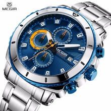 цены Megir Luxury Brand Men's Quartz Watches Stainless Steel Strap Chronograph Wristwatch Waterproof Luminous Clock Relogio Masculino