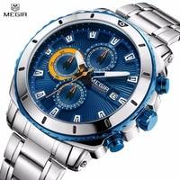Megir Luxury Brand Men's Quartz Watches Stainless Steel Strap Chronograph Wristwatch Waterproof Luminous Clock Relogio Masculino