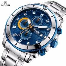 Megir для мужчин's нержавеющая сталь повседневные часы хронограф Analgue наручные для человека водостойкие светящиеся часы Relogio Masculino