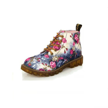 LIAM spring and autumn womens boots flat high-heeled retro strap floral British wind fashion printed anti-slip breathable