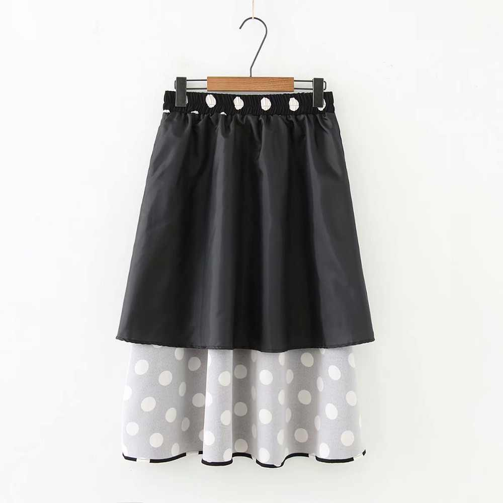 b1936d226f ... Plus size Dot black & white chiffon women skirts 2019 spring summer new  casual ladies Elastic ...