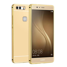 Luxury Mirror For Huawei P9 Lite G9 Lite P9 mini Metal Aluminum Frame + Acrylic Back Cover Case For huawei P9lite Phone Cases