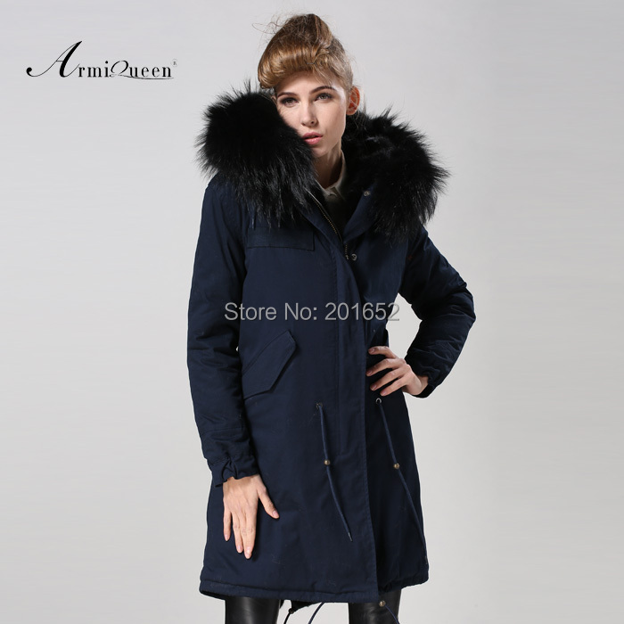 Promotion!!! Womens Winter Parka large raccoon collar Womens Fur Slim Black Fur Overcoat fur parka Plus Size Free Shipping