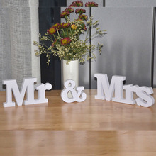 White Mr and Mrs Letters Sign Wooden Standing Top Table Wedding Decoration