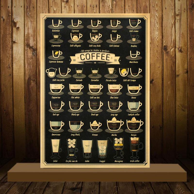51x35,5 cm ретро Кофе чашки Krafts бумаги плакат для баров Кухня Кофе витрина магазина декоративная наклейка Винтаж настенная декоративная наклей...
