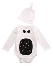 Newborn Baby Kids Boys Girls Warm Cotton Long Sleeve Cartoon Pattern Bodysuit+Hat