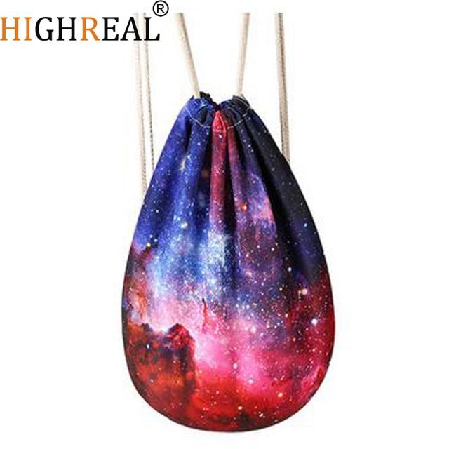 2017 New Fashion Galaxy Space Drawstring Bag Women Backpack 3D Printing  Travel Softback Women Mochila J99