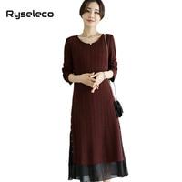 Ryseleco New Women Fall Winter Strip Patchwork Rivet Slit Long Sleeve Midi A-line Dresses Female Plus size Big Large Vestido 5XL