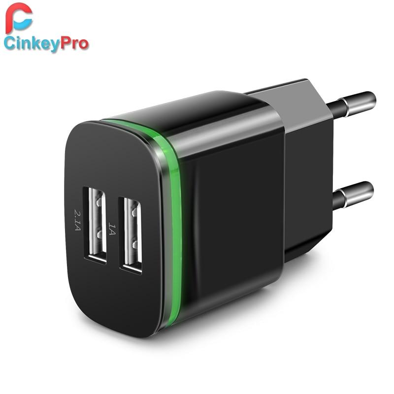 CinkeyPro USB Charger For iPhone 5 6 iPad Samsung LED Light 2 Ports 5V 2A Wall Adapter EU Plug Mobile Phone Micro Charging Data