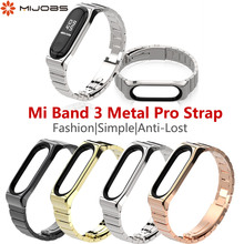 Mijobs Metal Strap For Xiaomi Mi Band 3 Screwless Stainless Steel Bracelet correa Watch Replace Accessories