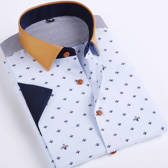 Venta caliente Del Mens Casual Camisas de Manga Corta 2017 Nueva Marca Floral Slim Fit Camisas Más El Tamaño 4xl Mens Camisas de Vestir Camisa