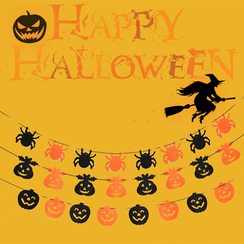 Paper Chain Garland Party Banner Event Decorations Pumpkin Bat Ghost Spider Skull Shape Halloween Banners Decor Garland