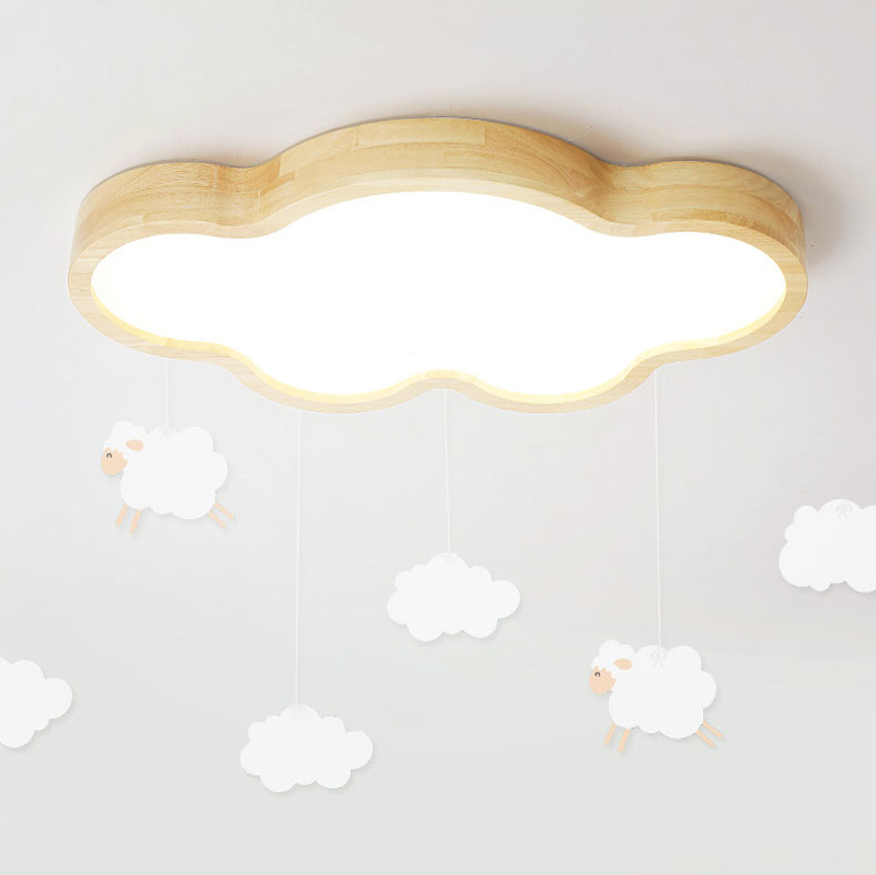 Japanese Style Room Ceiling Lights Cloud Shape LED Ceiling Light For Bedroom Kids Luminaire Cute Wooden Kitchen Lighting Fixture (16)