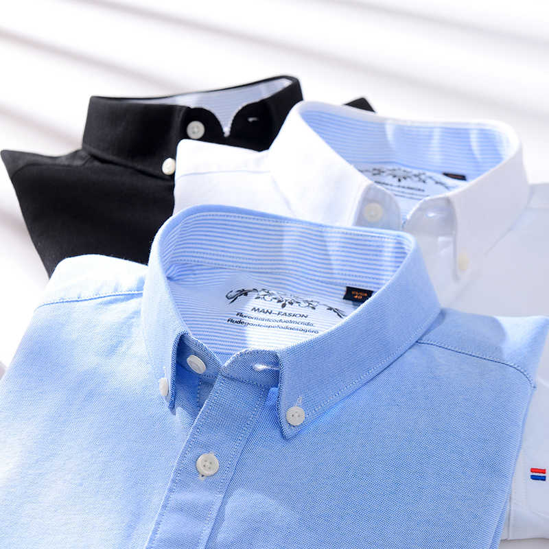 Мужские рубашки высокого качества, приталенные, с длинным рукавом, мужские, оксфорды, Повседневная рубашка, удобная клетчатая рубашка, брендовая одежда, белый, черный