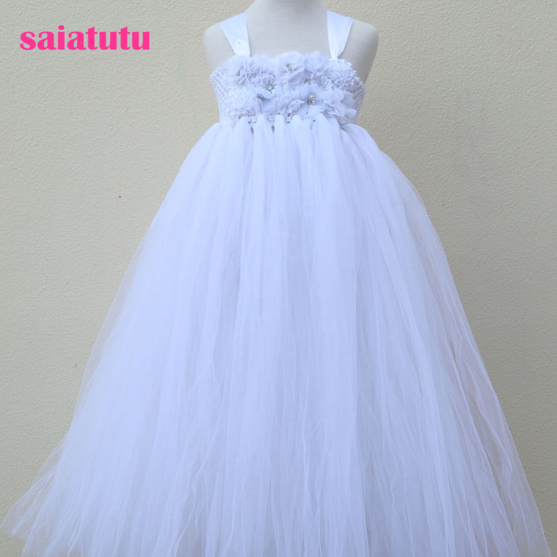 pure white baby bridesmaid flower girl wedding dresses tulle fluffy birthday 2018 NEW  evening prom cloth tutu girl party dress lilac tulle open back flower girl dresses with white lace and bow silver sequins kid tutu dress baby birthday party prom gown