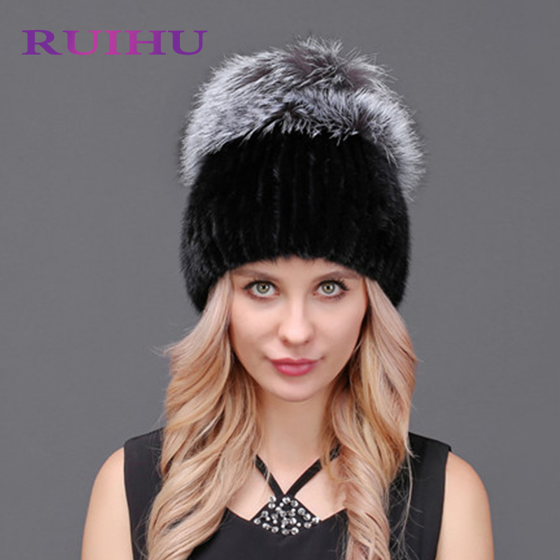 RUIHU Winter Women Lovely Warm Hats For Ladies Female Mink Fur Hat+Fur Pompoms Female Cap Thick Gorros Touca Inverno RHM665 new knitted beanies hats women winter caps sport cycling warm hats pompoms casual female casquette touca inverno thick ride mask
