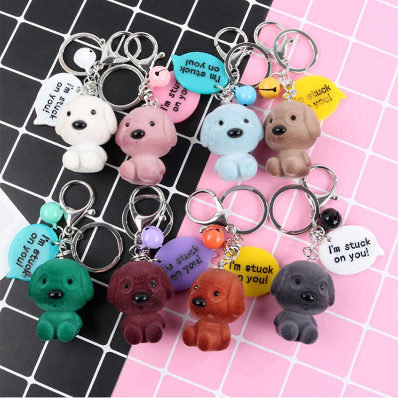 Fashion Cute Cartoon Dog Pendant Key Rings Key Chain Stuck On YOu Bell Car Bag Keychains Creative Key Chain Jewelry Gift