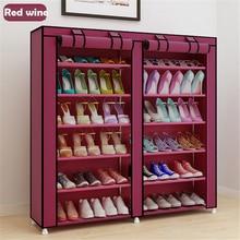 سعة كبيرة خزانة الأحذية الصفوف المزدوجة الأحذية المنظم رف أثاث المنزل DIY بها بنفسك الغبار واقية الأحذية رفوف الفضاء التوقف