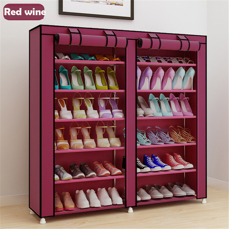 Cabinet:  Large Capacity Shoes Storage Cabinet Double Rows Shoes Organizer Rack Home Furniture DIY Dust-proof Shoes Shelves Space Saver - Martin's & Co